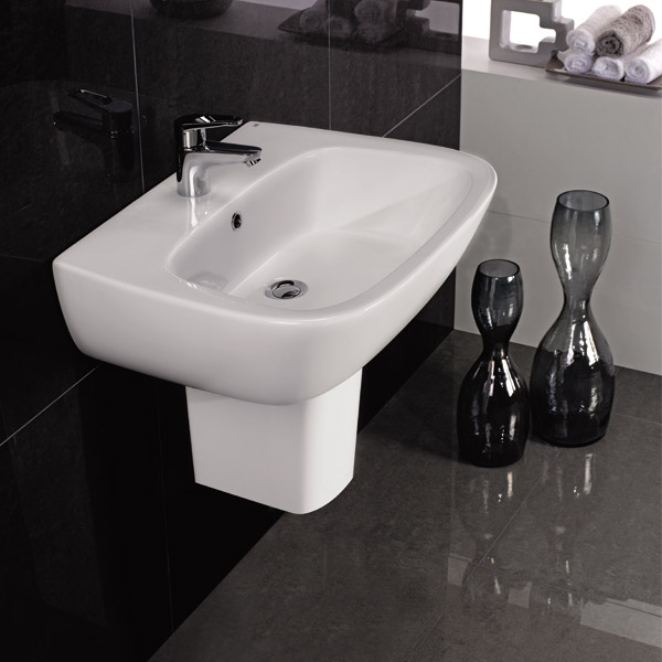 RAK - Elena wall mounted basin and half pedestal - 2 Size Options profile large image view 2