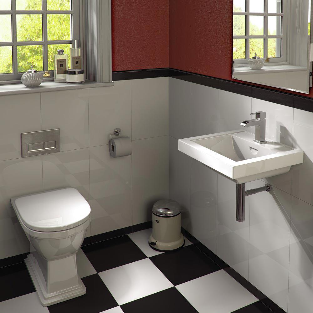 Rak bathroom suites - Rak Empire Cloakroom Suite Back To Wall Pan And 45cm Basin At Victorian Plumbing Uk