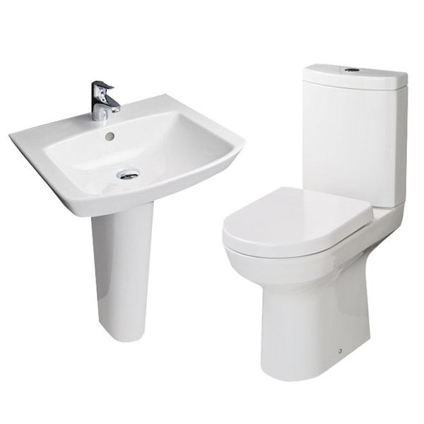 RAK - Highline 4 Piece Bathroom Suite - close coupled WC & basin with pedestal profile large image view 2