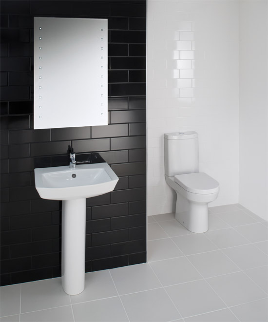 RAK - Highline 4 Piece Bathroom Suite - close coupled WC & basin with pedestal Large Image