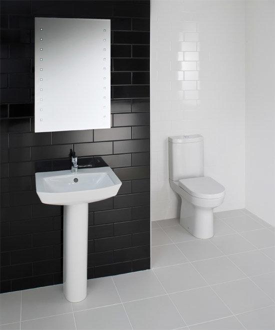 RAK - Highline 4 Piece Bathroom Suite - close coupled WC & basin with pedestal profile large image view 1