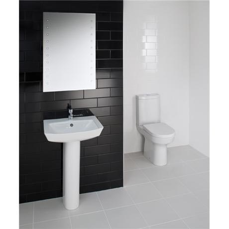 RAK - Highline 4 Piece Bathroom Suite - close coupled WC & basin with pedestal