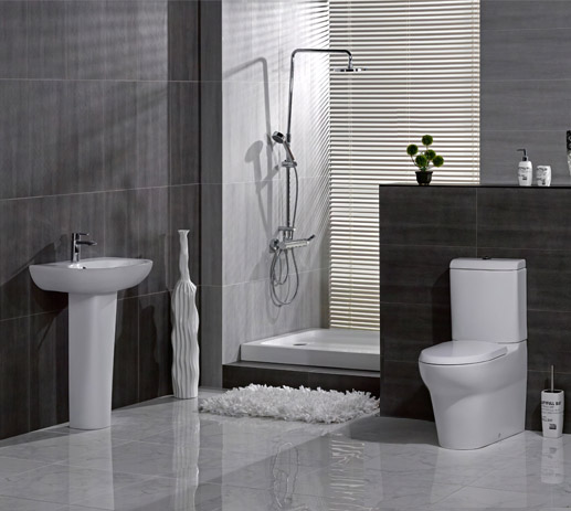 RAK - Infinity 4 Piece Set - Close Coupled WC & 60cm Basin with Full Pedestal profile large image view 1