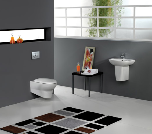 RAK - Infinity Wall Hung 4 Piece Set - Toilet & 50cm Basin with Half Pedestal profile large image view 1