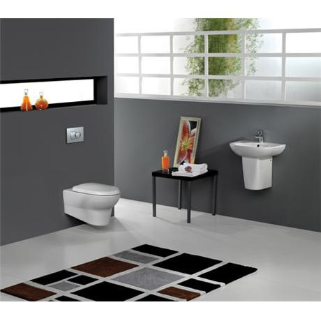 RAK - Infinity Wall Hung 4 Piece Set - Toilet & 50cm Basin with Half Pedestal