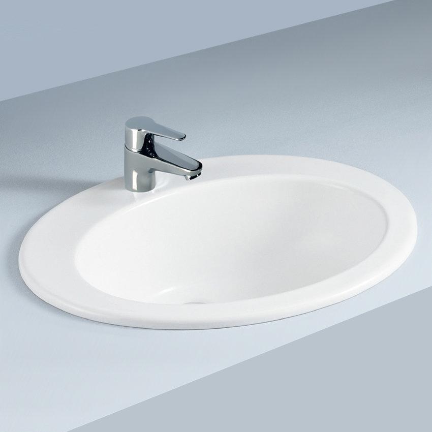 Fully recessed bathroom sinks fully inset vanity basin for Designer bathroom sinks basins