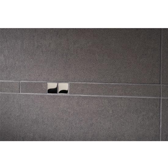 RAK - Listello Dark Grey Polished Tile Border with Chrome Glass Inset - 300x23mm - ARM2962 Large Image