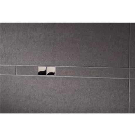 RAK - Listello Dark Grey Polished Tile Border with Chrome Glass Inset - 300x23mm - ARM2962