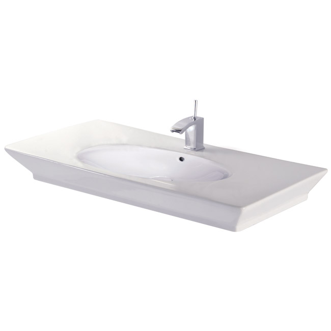 RAK - Opulence 100cm Her counter top basin with porcelain waste - White Large Image