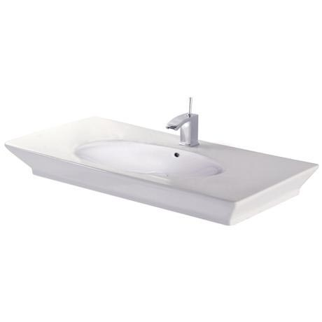 RAK - Opulence 100cm Her counter top basin with porcelain waste - White