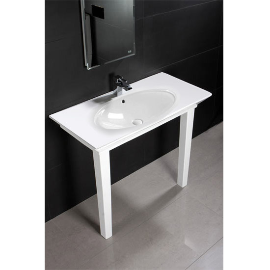 RAK - Opulence 100cm 'Her' Console Basin with Porcelain Waste & Legs - White profile large image view 2