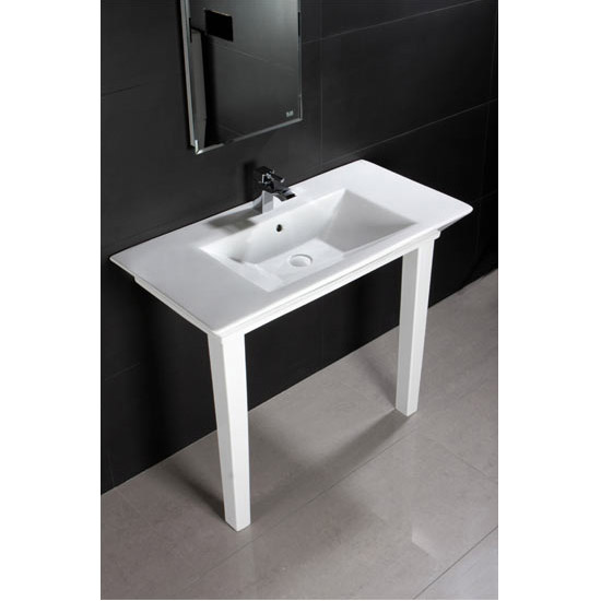 RAK - Opulence 100cm His Console Basin with Porcelain Waste & Legs - White Profile Large Image