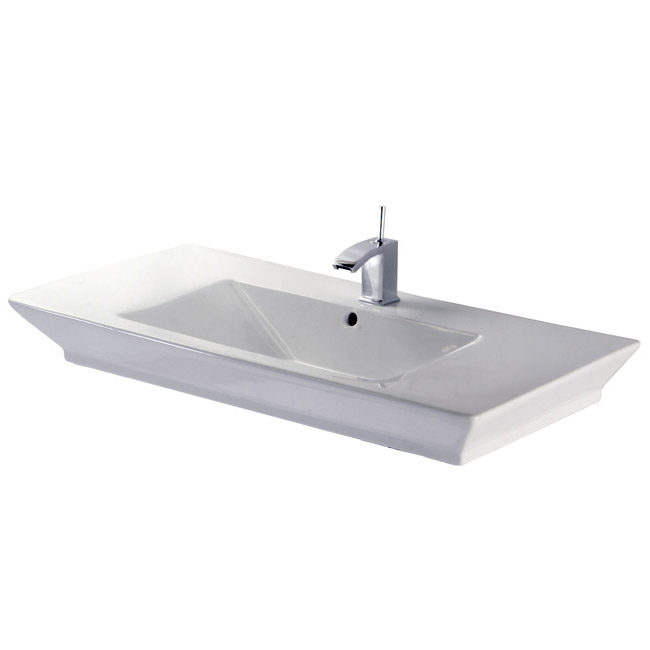 RAK - Opulence 100cm His counter top basin with porcelain waste - White Large Image