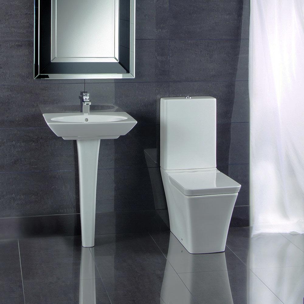 RAK Opulence 4-Piece Set -Toilet & 58cm Hers Basin - 1TH - White Large Image