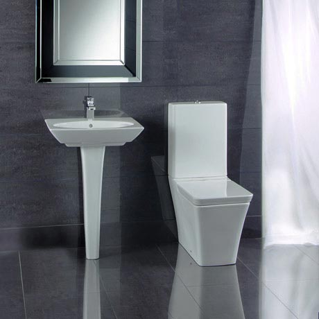 RAK Opulence 4-Piece Set -Toilet & 58cm Hers Basin - 1TH - White
