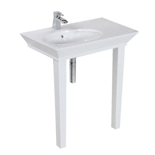 RAK - Opulence 80cm 'Her' Offset Console Basin with Porcelain Waste & Legs - White profile large image view 3