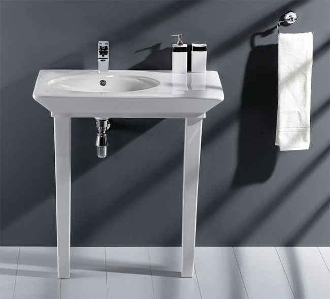 RAK - Opulence 80cm Her Offset Console Basin with Porcelain Waste & Legs - White Large Image