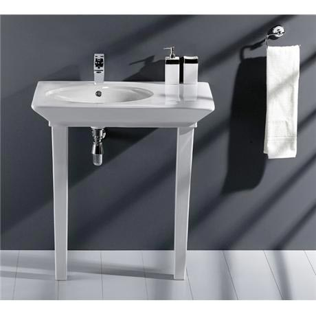 RAK - Opulence 80cm Her Offset Console Basin with Porcelain Waste & Legs - White