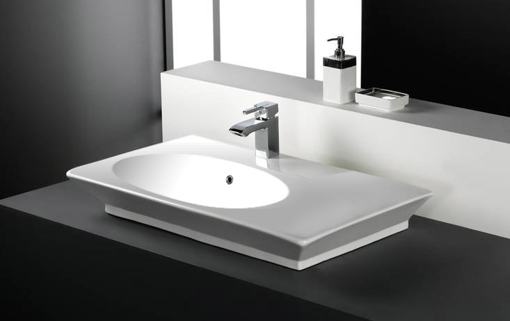 RAK - Opulence 80cm Her Offset counter top basin with porcelain waste - White Large Image