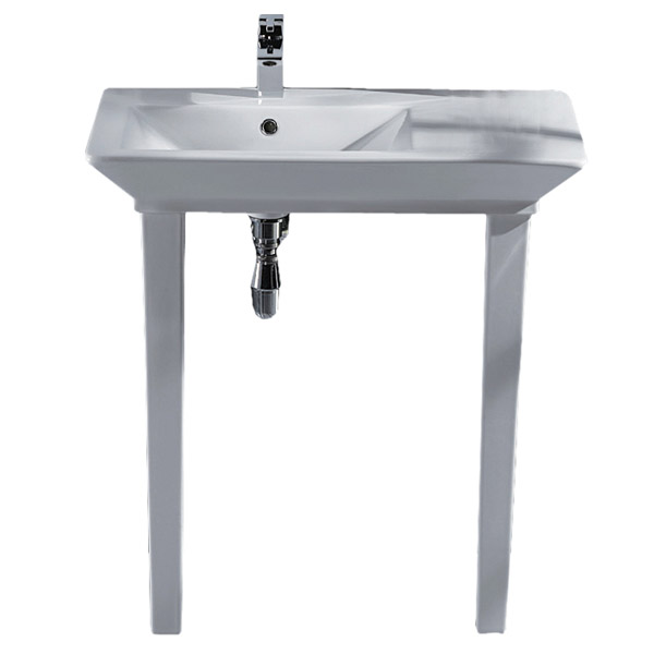 RAK - Opulence 80cm 'His' Offset Console Basin with Porcelain Waste & Legs - White profile large image view 2
