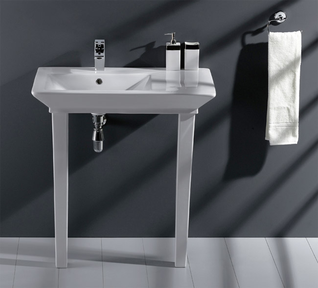 RAK - Opulence 80cm 'His' Offset Console Basin with Porcelain Waste & Legs - White profile large image view 1