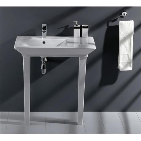 RAK - Opulence 80cm His Offset Console Basin with Porcelain Waste & Legs - White