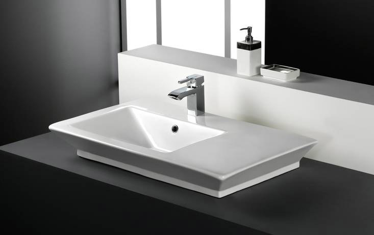 RAK - Opulence 80cm 'His' Offset counter top basin with porcelain waste - White profile large image view 1
