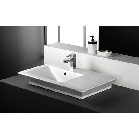 RAK - Opulence 80cm His Offset counter top basin with porcelain waste - White