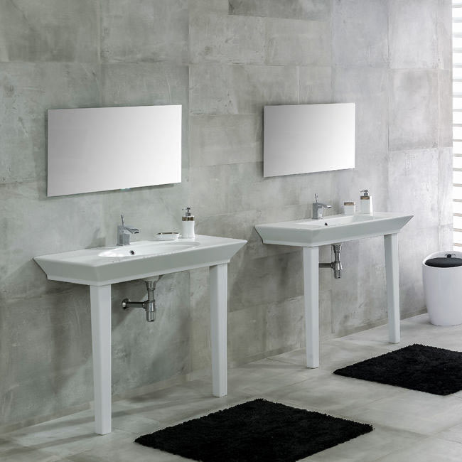 RAK Opulence 80cm His 'n' Hers Wash Basin Set with Porcelain Waste & Legs - White profile large image view 1
