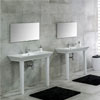 RAK Opulence 80cm His 'n' Hers Wash Basin Set with Porcelain Waste & Legs - White profile small image view 1