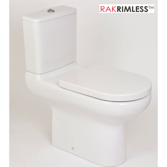 RAK - Compact Special Needs Extended Projection Rimless CC Toilet - Seat Selection Profile Large Image