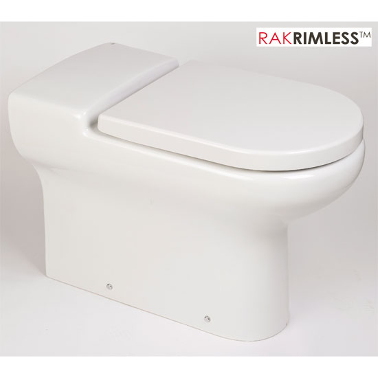 RAK - Compact Special Needs Extended Projection BTW Rimless Toilet - Seat Selection profile large image view 3