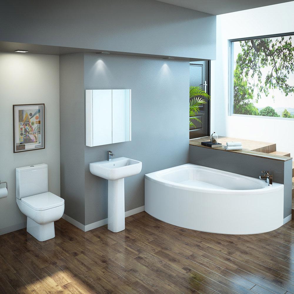 RAK Series 600 Bathroom Suite with Orlando Corner Bath - Left Hand Option