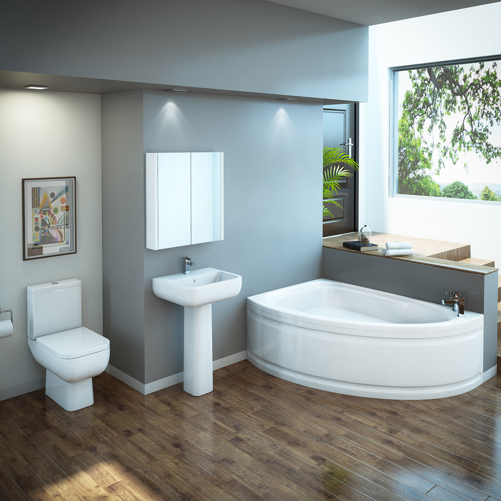 RAK Series 600 Bathroom Suite with Orlando Corner Bath - Left Hand Option Large Image