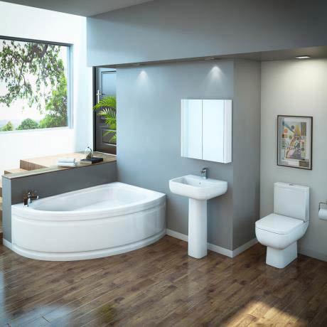 RAK Series 600 Bathroom Suite with Orlando Corner Bath - Right Hand Option