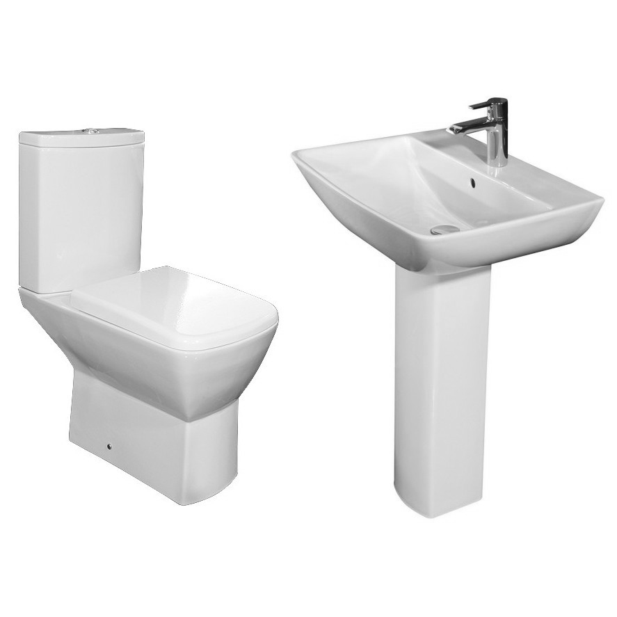 RAK Summit 4 Piece Suite - Close Coupled WC & 60cm Basin 1TH & Pedestal Profile Large Image