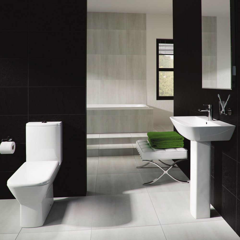 RAK Summit 4 Piece Suite - Close Coupled WC & 60cm Basin 1TH & Pedestal Large Image