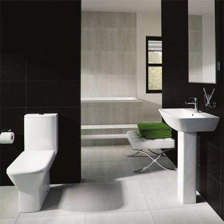 RAK Summit 4 Piece Suite - Close Coupled WC & 60cm Basin 1TH & Pedestal