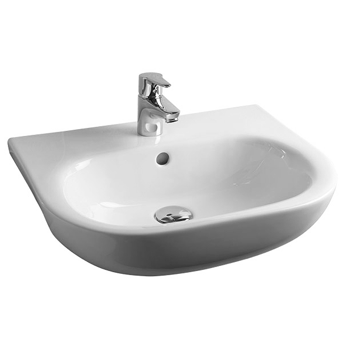 RAK Tonique 52cm Semi-Recessed Basin - 1 Tap Hole - TONSRBAS1 profile large image view 2