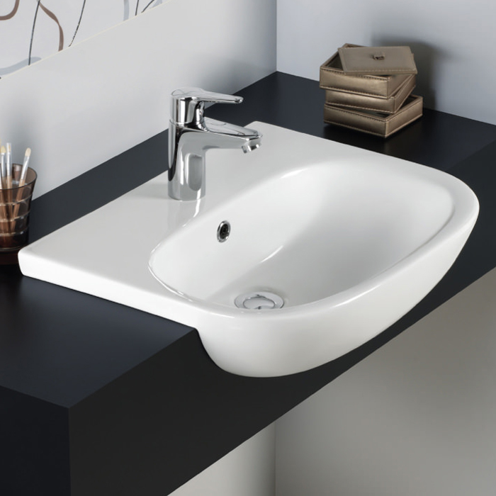 Rak Tonique 52cm Semi Recessed Basin 1 Tap Hole