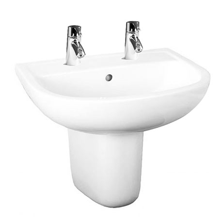 RAK Compact 55cm Basin 2TH with Half Pedestal