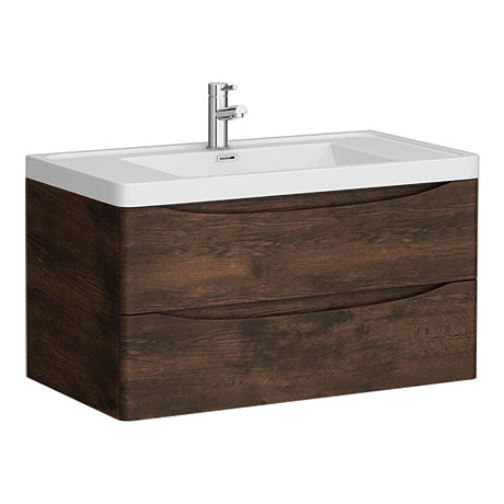 Ronda Chestnut 900mm Wide Wall Mounted Vanity Unit