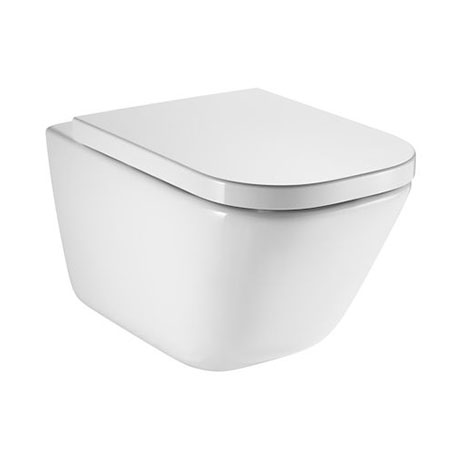 Roca The Gap Rimless Wall Hung Toilet + Compact Soft Close Seat