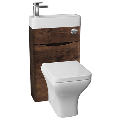 Ronda 500mm Chestnut 2-In-1 Combined Wash Basin & Toilet