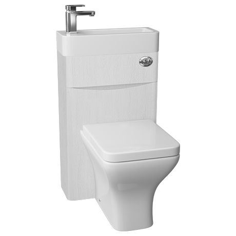 Ronda 500mm White Ash 2-In-1 Combined Wash Basin & Toilet
