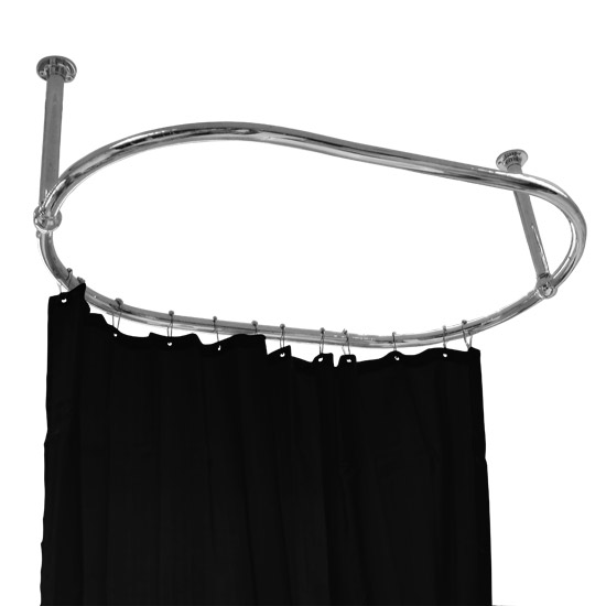 Luxury Oval Chrome Plated Racetrack Shower Curtain Rail Profile Large Image