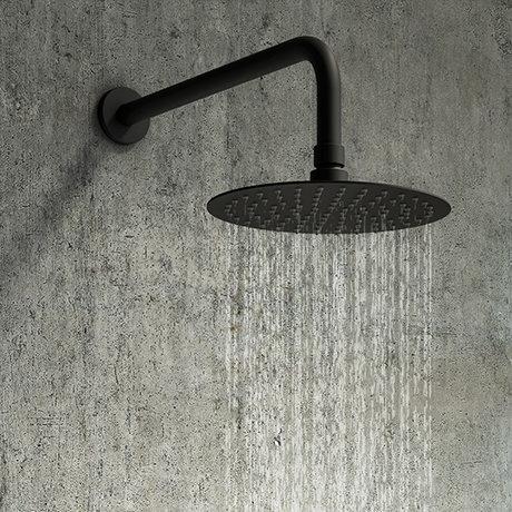 Arezzo Round 250mm Matt Black Fixed Shower Head + Wall Mounted Arm