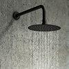 Arezzo Round 250mm Matt Black Fixed Shower Head + Wall Mounted Arm profile small image view 1