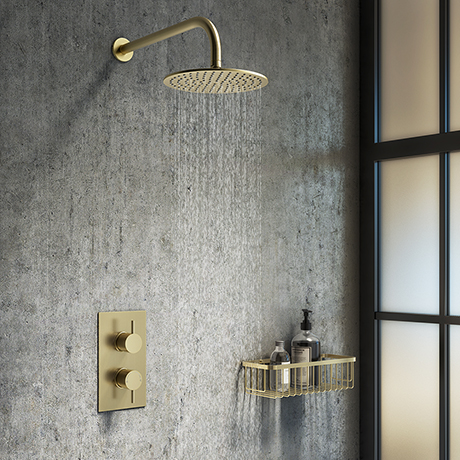 Arezzo Brushed Brass Round Shower Package with Concealed Valve + Head