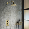 Arezzo Brushed Brass Round Shower Package with Concealed Valve + Head profile small image view 1